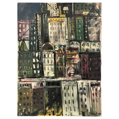 Large Expressionist New York City Cityscape Painting by Sonia Chaitin, 1959