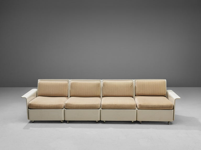 Space Age Large Extendable Modular Sofa on Wheels For Sale