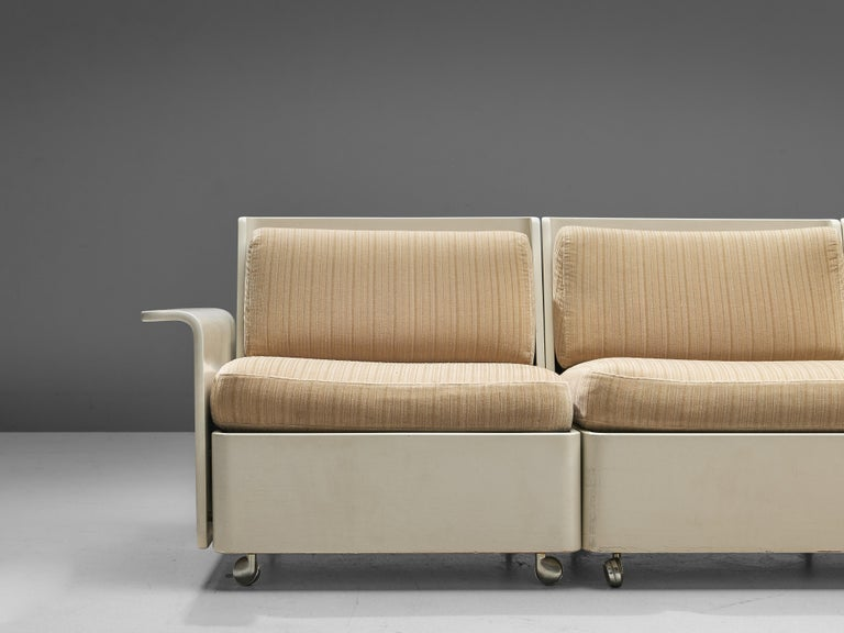 Upholstery Large Extendable Modular Sofa on Wheels For Sale