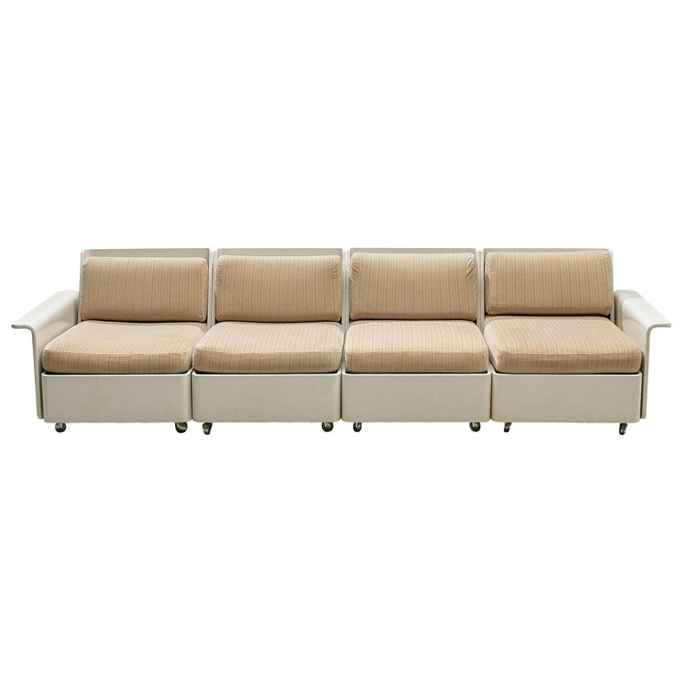 Large Extendable Modular Sofa on Wheels For Sale