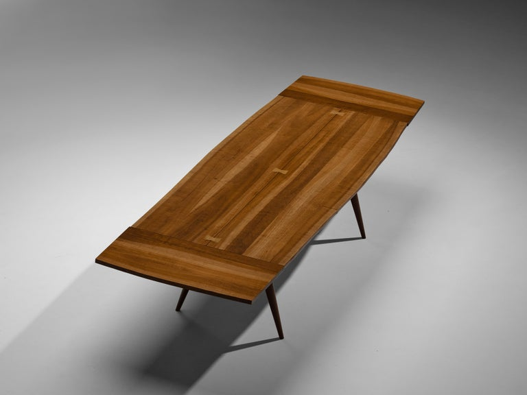 Large Extendable Nakashima Free Edge Dining Table in Cherrywood For Sale 4