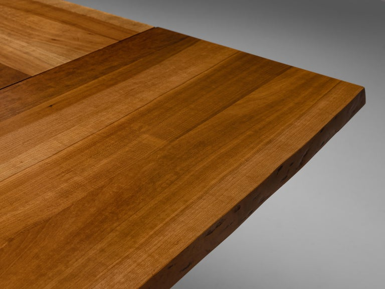 Large Extendable Nakashima Free Edge Dining Table in Cherrywood For Sale 6