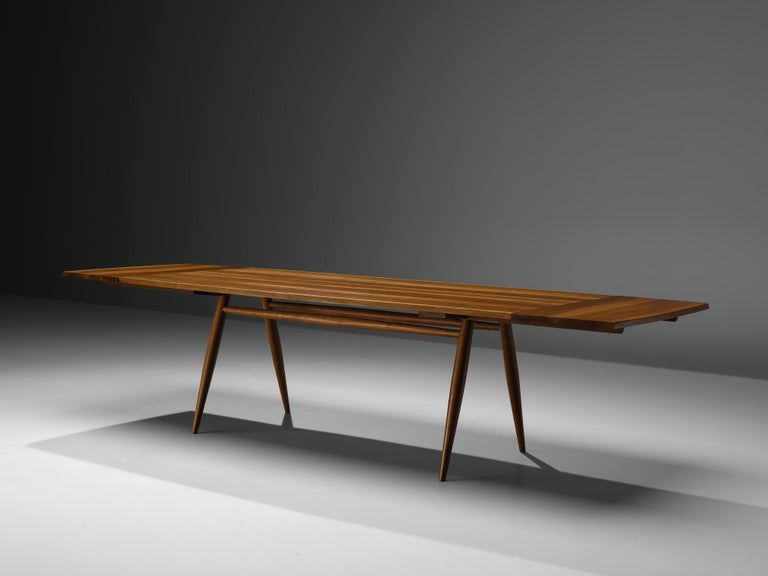 American Large Extendable Nakashima Free Edge Dining Table in Cherrywood For Sale