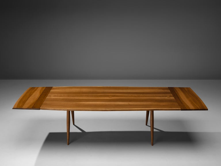 Large Extendable Nakashima Free Edge Dining Table in Cherrywood In Good Condition For Sale In Waalwijk, NL