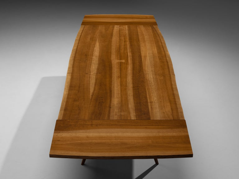 Mid-20th Century Large Extendable Nakashima Free Edge Dining Table in Cherrywood For Sale