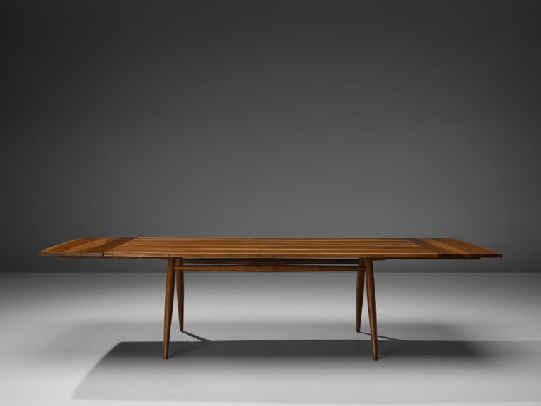 Large Extendable Nakashima Free Edge Dining Table in Cherrywood For Sale 1