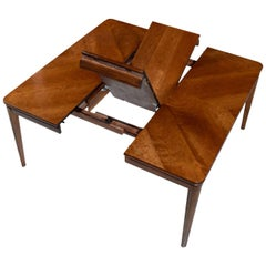 Large Extendable Rectangle to Square Cherry Wood Butterfly Leaf Dining Table
