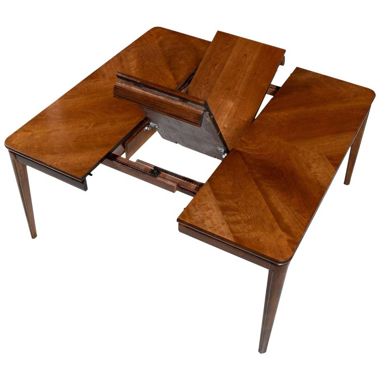 Large Extendable Rectangle To Square Cherry Wood Erfly Leaf Dining Table