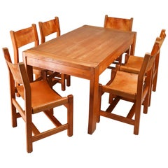Large Extendable Table and Six Chairs in Elm & Cognac Leather, France, 1960