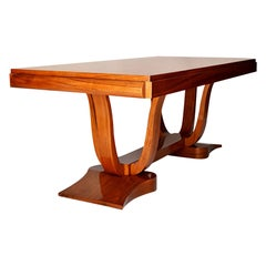 Large Extensible Art Deco Table in French Walnut Wood, 1930s, France