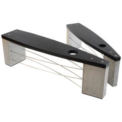 Large Exterior Outdoor Bench with Modern Concrete Wood and Stainless Steel