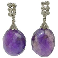 Large Faceted Amethyst and Diamond Drop Earrings