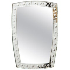 Large Faceted Art Deco Italian Wall Mirror
