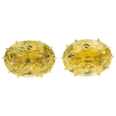 Large Faceted Oval Citrine Yellow Gold Cufflinks