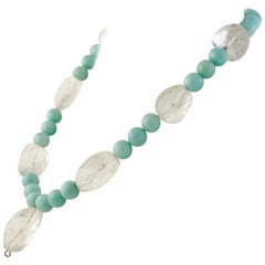 Exolette Large Faceted Rock Crystal Nugget and Amazonite Aquamarine Necklace