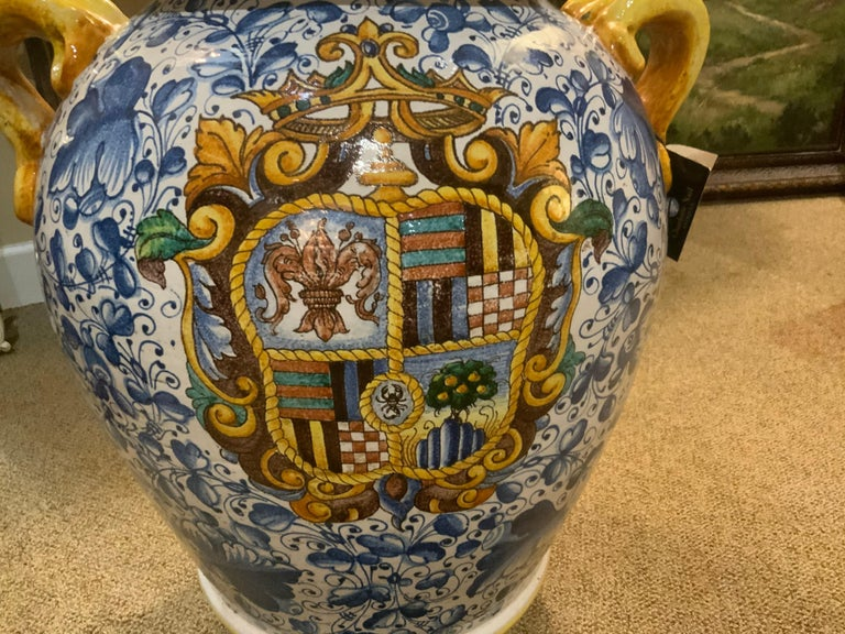 Hand-Painted Large Faience Vase, Renaissance Style, 19th C For Sale