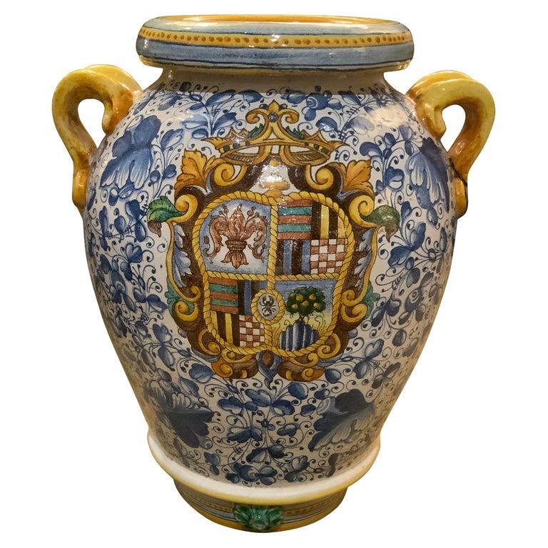 Large Faience Vase, Renaissance Style, 19th C For Sale