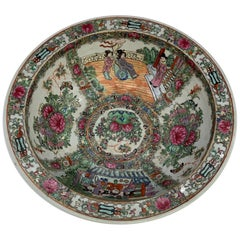 Large Famille Rose Bowl China ca 19th Century Floral Rosettes and Court Scenes