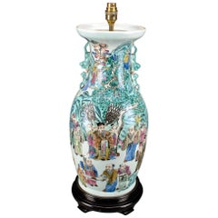 Large Famille Verte Chinese Antique Table Lamp