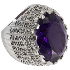 Large Faux Amethyst Set In A CZ Pave Sterling Chunky Ring