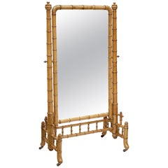 Large Faux Bamboo Cheval or Dressing Mirror from France