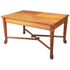 Large Faux Bamboo Library Table from Italy