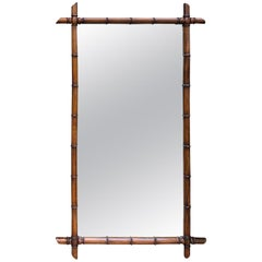 Large Faux Bamboo Mirror with Old French Shipping Label, circa 1880s-1900s