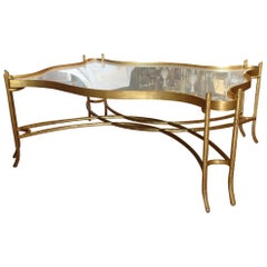 Large Faux Bois Mirrored Cocktail Table