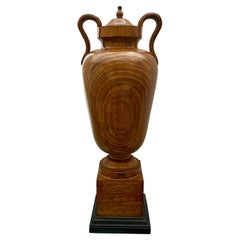 Large Faux Bois Wood Decorative Handled Urn on Plinth Base