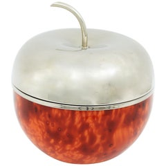 Large Faux Carey & Metal Plated Apple Ice Bucket in the Manner of Mauro Manetti