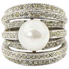 Large Faux South Sea Pearl and Crystal Sterling Silver Cocktail Ring