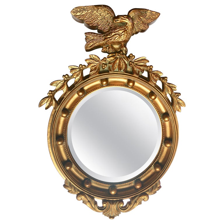 Large Sculptural Federal Style Round Figural Eagle Mirror For Sale