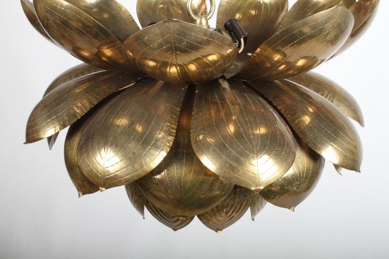 Mid-Century Modern Large Feldman Lighting Company Brass Lotus Chandelier For Sale