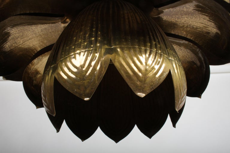 American Large Feldman Lighting Company Brass Lotus Chandelier For Sale