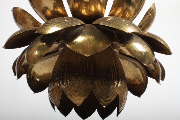 Large Feldman Lighting Company Brass Lotus Chandelier In Good Condition For Sale In St. Louis, MO