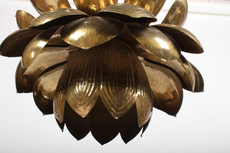 Mid-20th Century Large Feldman Lighting Company Brass Lotus Chandelier For Sale