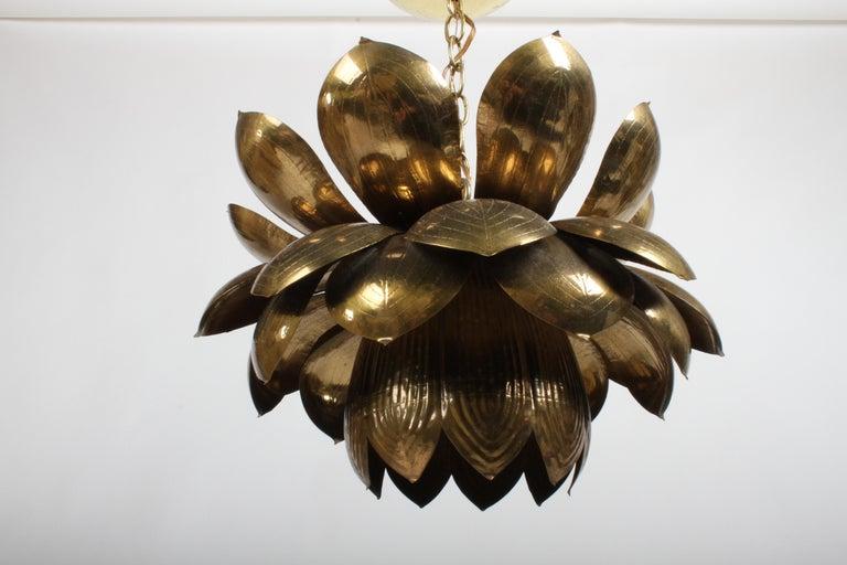 Large Feldman Lighting Company Brass Lotus Chandelier For Sale 2