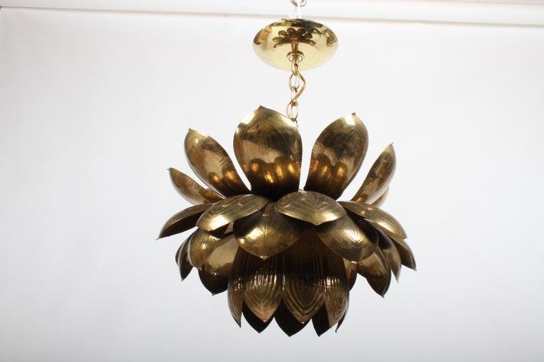 Large Feldman Lighting Company Brass Lotus Chandelier For Sale 3