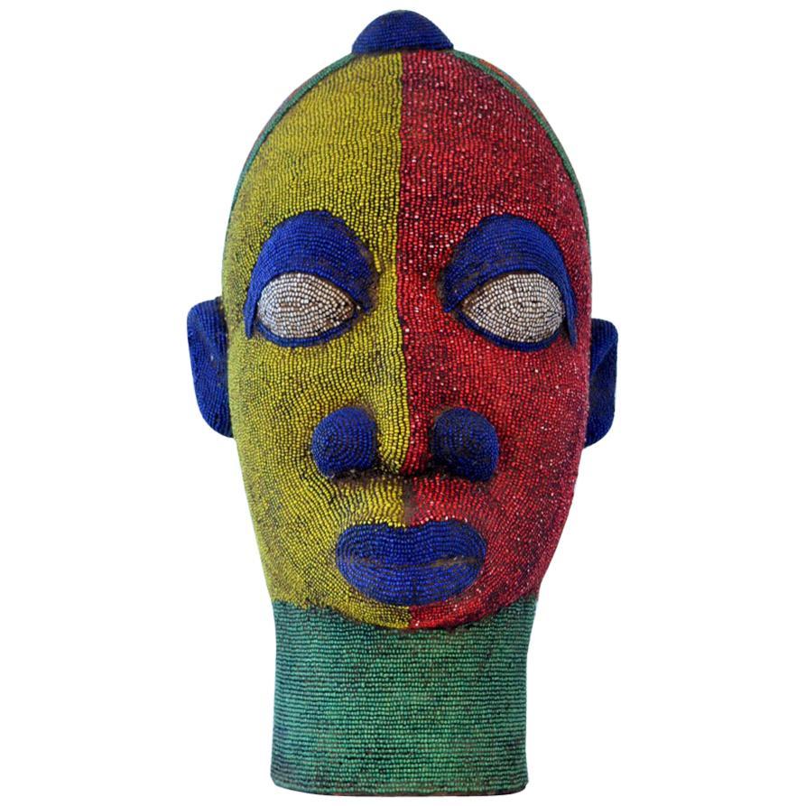 Large Female Head Sculpture in Colored Beads, Nigeria
