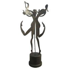 Large Female Figural Steel Sculpture Bronze Finish