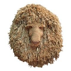 Large Fiber Art Macrame Lion Head by Judee Du-Bourdieu