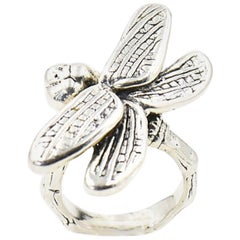 Large Figural Dragonfly Sterling Silver 3d Ring