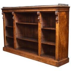 Large Figured Walnut Dwarf Open Bookcase