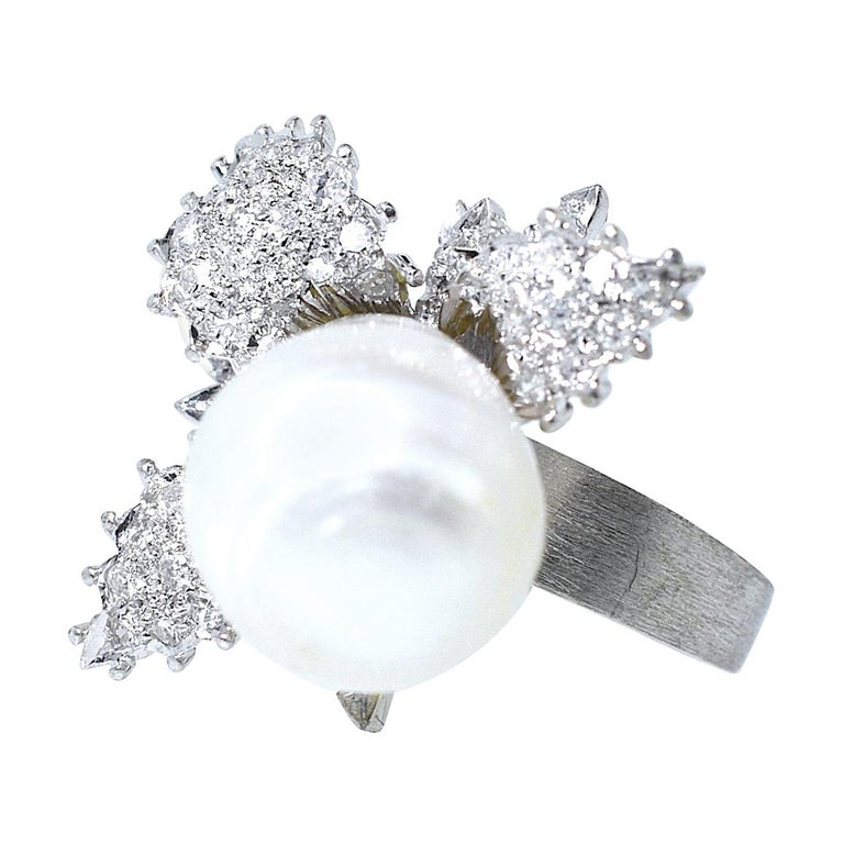 Large Fine Baroque Pearl and Diamond Ring, circa 1960 For Sale