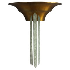 Large Fine French Art Deco Bronze Sconce with Cascading Glass Slabs by Perzel