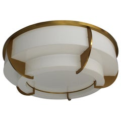 Large Fine French Art Deco Two-Tiered Round Flush Mount by Jean Perzel