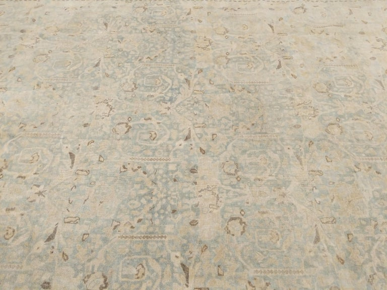 Hand-Knotted Large Fine Vintage Anatolian Soft Teal Shabby Chic All-Over Design Rug For Sale