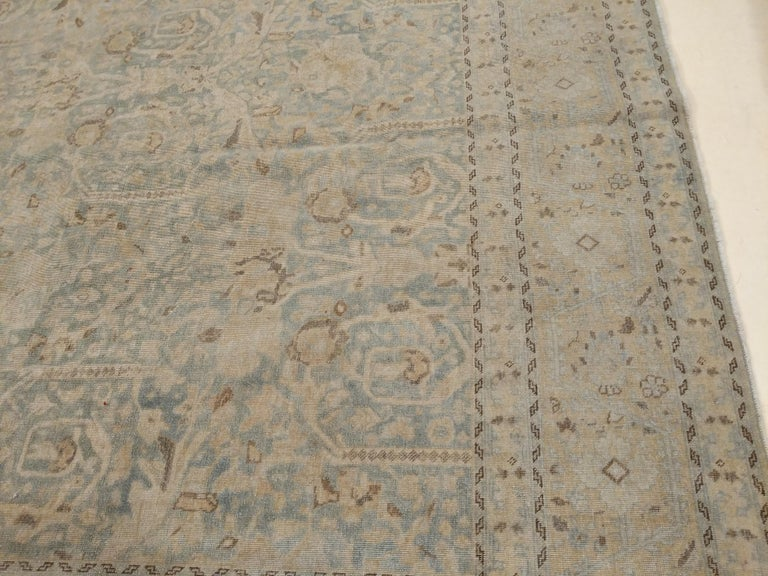 Large Fine Vintage Anatolian Soft Teal Shabby Chic All-Over Design Rug In Good Condition For Sale In Milan, IT