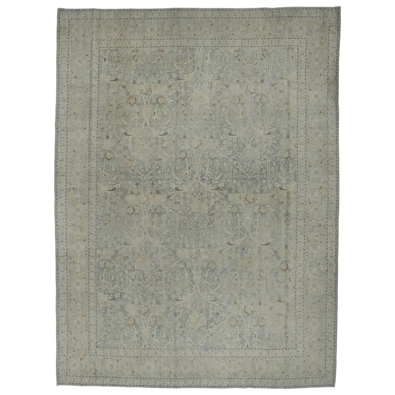 Large Fine Vintage Anatolian Soft Teal Shabby Chic All-Over Design Rug For Sale