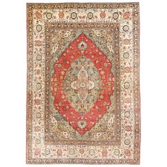 Large Finely Woven Antique Persian Tabriz Rug. Size: 13 ft 6 in x 19 ft 6 in